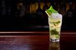 lemon mojito cocktail or lemonade on the bar.