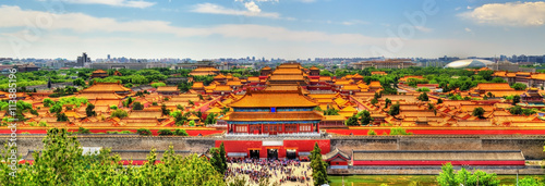 Türaufkleber Beijing Aerial view on Forbidden City from Jingshan Park in Bejing