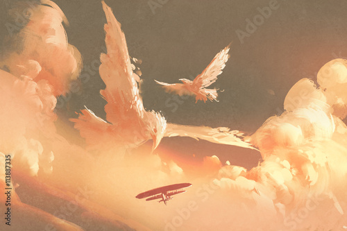 birds shaped cloud in sunset sky,illustration painting