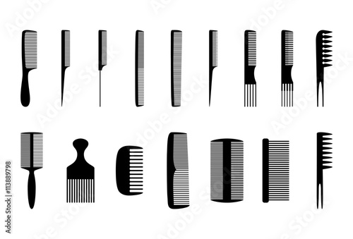Set of combs, vector illustration Poster Mural XXL