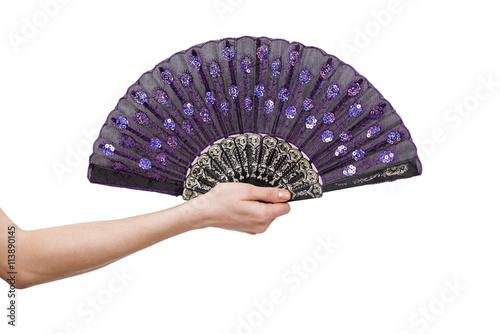 Valokuva Hand holding fan isolated on white background