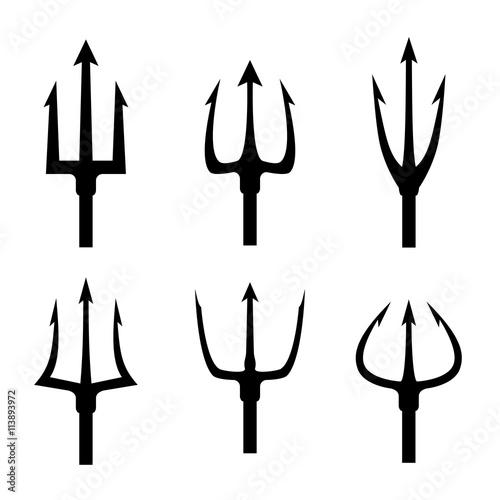 Valokuvatapetti Black trident silhouette vector set