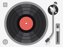 Vinyl Turntable. Flat Vector I...