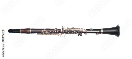 Brass black clarinet isolated on white background Wallpaper Mural