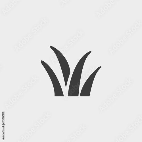 ikona trawy w płaskiej konstrukcji w kolorze czarnym. Wektorowa ilustracja eps10