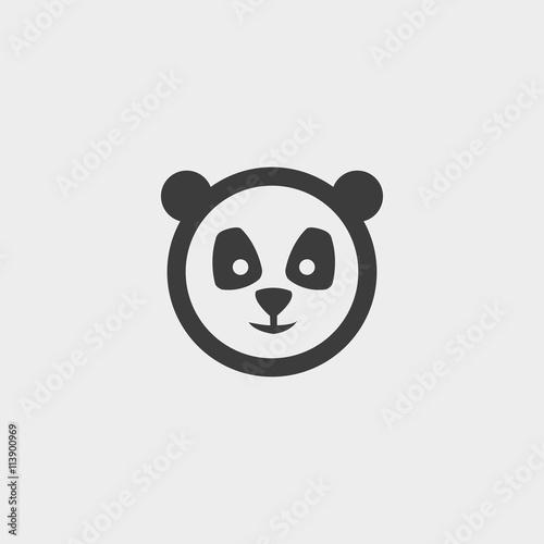 panda Icon in a flat design in black color Canvas Print