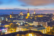 Night aerial cityscape with Medieval Old Town illuminated with Saint Nicholas Church, Cathedral Church of Saint Mary and Alexander Nevsky Cathedral in Tallinn, Estonia