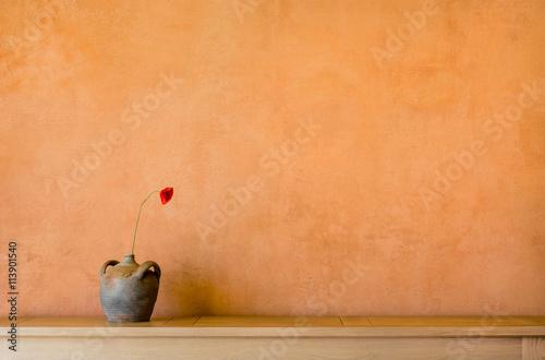 Fényképezés  Hintergrund – Wand mit ocker pigmentierter Kalkfarbe antikem Tonkrug und Mohnblu