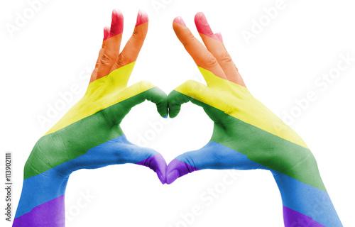 Fotografie, Obraz  human's hands with rainbow flag