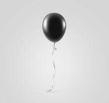 Blank Black Balloon Mock Up Isolated. Clear Grey Balloon Art Design Mockup Holding In Hand. Clean Pure Baloon Template. Logo, Texture, Pattern Presentation Plain Aerostat Design Element.