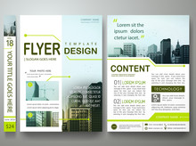 Flyers Design Template Vector.Green Circuit Board Pattern On Poster.Cover Book Portfolio Presentation.Brochure Report Business Magazine Poster Template.City Design On A4 Brochure Layout Background.