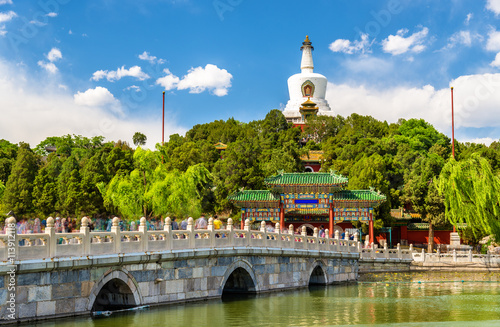 View of Jade Island with White Pagoda in Beihai Park - Beijing