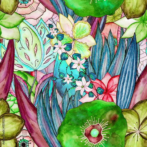 floral watercolor seamless pattern - 113912511