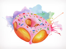 Donut With Pink Icing Vector Illustration, Watercolor Painting, Isolated On A White Background