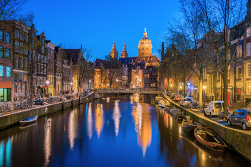 Night at Amsterdam city in Netherlands