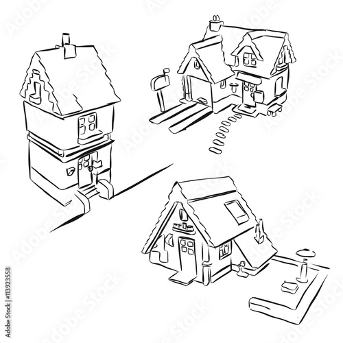 Drei Hauser Skizzen Miniaturansicht Buy This Stock Vector