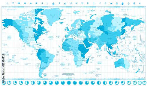 World Map with Standard Time Zones soft tints of blue and ...