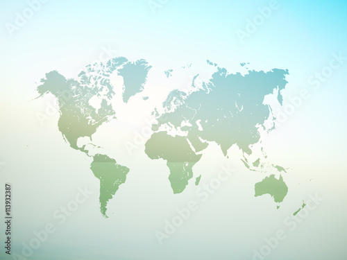 Blank Green Color Texture Political World Map. 3D rendering. Empty ...