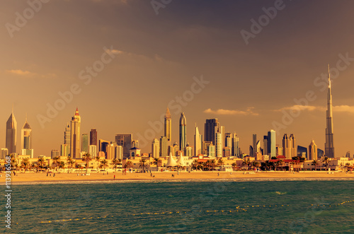 Dubai, United Arab Emirates: Downtown in the sunset Canvas Print
