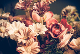Close up colorful bunch of beautiful flowers.Vintage or retro tone. - 113937128