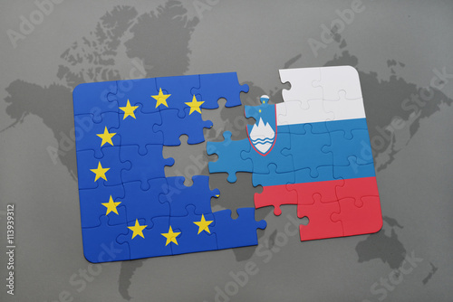 puzzle with the national flag of slovenia and european union on a ...
