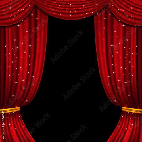 Fotobehang Stof Red open curtain with glittering lights. Stage with fabric curtain, illustration of presentation with open curtain. Vector background