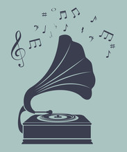 Old Gramophone  Isolated Icon ...