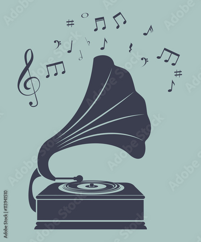 Photo old gramophone  isolated icon design, vector illustration  graphic