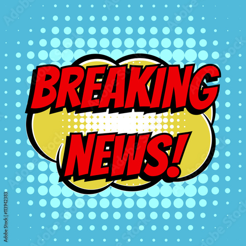 obraz PCV Breaking news comic book bubble text retro style