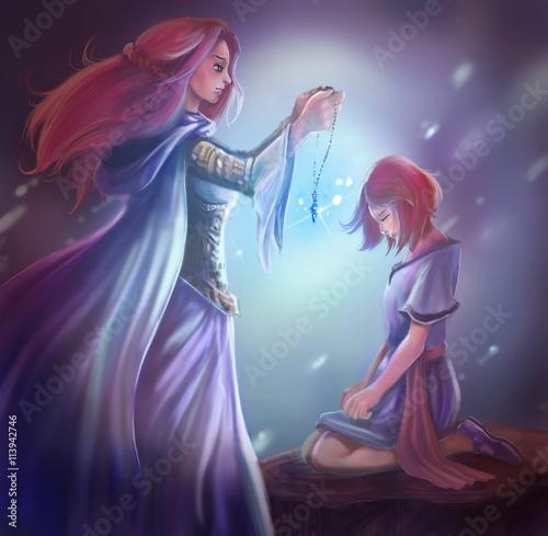 Cuadros en Lienzo Ilustración de la fantasía de dibujos animados de una reina diosa está dando un