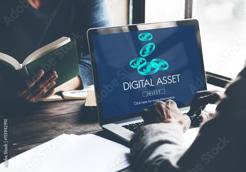Digital Assets Finance Money Business Concept Canvas Print