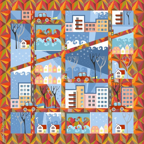 Deurstickers Graffiti collage Autumn town in anticipation of winter. Cute cartoon city map on ornamental background. Vector illustration