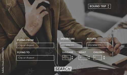 Booking Transportation Departure Arrive Flight Concept