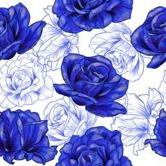 Obraz Blue roses .Vector seamless pattern