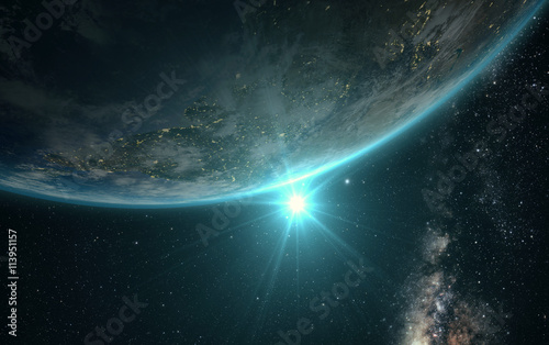Fototapety, obrazy: sunrise view of earth from space with milky way galaxy