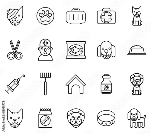 Fototapety, obrazy: Veterinary line icons. Pets thin signs