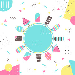 FototapetaIce-cream and Popsicle on Sticks. Colorful Background with Round Sign