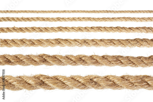 Fotografiet  Set of rope with varying degrees of increase