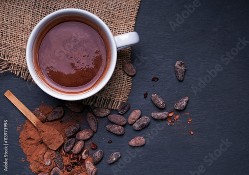 Hot chocolate in a cup, dark styled photo