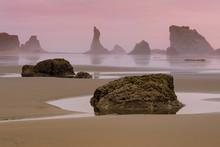 Seastacks In The Pacific Ocean From Bandon Beach In Bandon, Oregon