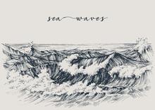 Sea Or Ocean Waves Drawing. Sea View, Waves Breaking