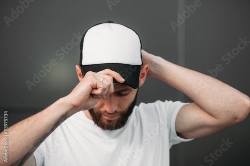 Fotografia  Baseball cap empty mock up