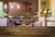 Selected focus empty brown wooden table and space of Coffee shop