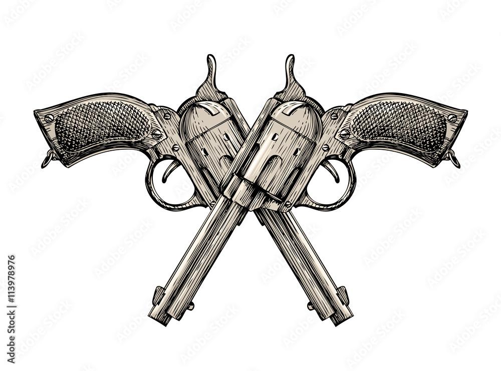 Fototapeta Crossed pistols. Vintage vector gun, pistol, handgun. Retro revolver