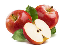 3 Red Apples Half Isolated On ...