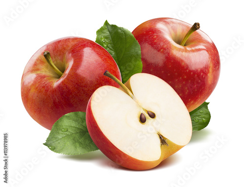 Valokuva  3 red apples half isolated on white background as package design element