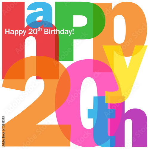 Happy 20th Birthday Card Buy This Stock Vector And Explore