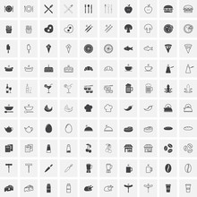 Food Full And Outline Icons Set