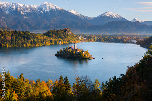 Panoramic view of Lake Bled from Mt. Osojnica, Slovenia плакат