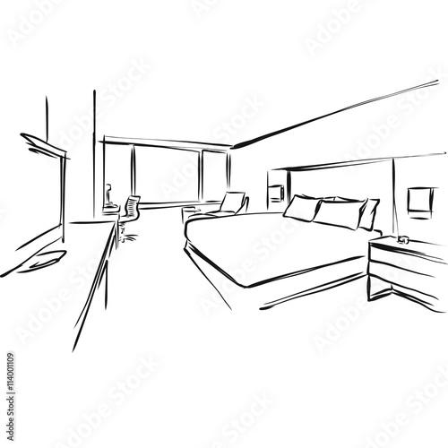 Fotografie, Obraz  Skizze Interieur Hotel Zimmer, Vektor Zeichnung